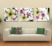 Free Shipment 3pcs Flowers Oil Painting Reproduction Art Picture Paint On Canvas Prints Framed