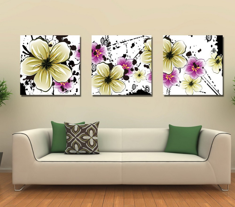 1 set 3pcs flower oil printing Living Room Abstract Art Wall ...