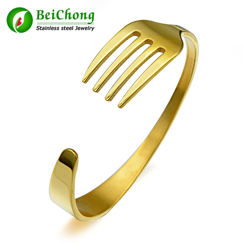 10PCS Three color Plated Fork Bracelet make by Stainless Steel Titanium Bangle