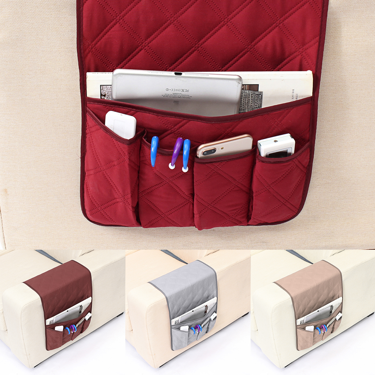 5 Pockets Armchair Sofa Chair Storage Bag Remote Control ...
