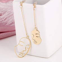 Hello Miss Europe and the United States fashion simple long earrings trend woman avatar face alloy earrings long earrings europe and the united states simple fashion men and women smooth face earrings cross shaped retro silver gold cross earrings