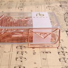 Розовое золото, любовь, зажим для бумаги, креативный, специальная форма, зажим для моделирования, металлические аксессуары для офиса, скрепки, металлические скрепки для бумаги, Закладка
