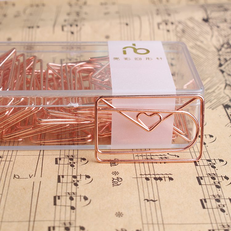 Rose Gold Love Paper Clip Envelope Shaped Modeling Clip metal Office Accessories Paperclips Metal Paper Clips Bookmark