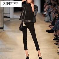 Высокое качество 2018 новый модной Для женщин отложной воротник куртка + однотонные Черные ботильоны длина Штаны 2 шт. наряд vl6155