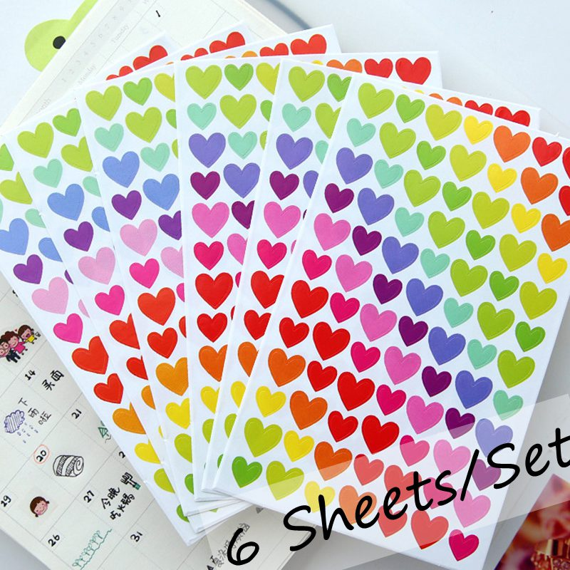 6 Sheets/set Notebook Stickers Funny Sticky Paper Lable Classic Adesivo Laptop Sticker Children Diary Stickers Set Cheap Toy