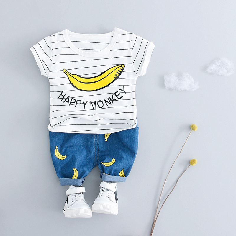 Baby Boys Girls Clothes Sets Summer Banana Kids Baby Boy Clothing Ser Outfit Casual Cotton Newborn Costume Baby Clothing Suit baby boy clothes kids bodysuit infant coverall newborn romper short sleeve polo shirt cotton children costume outfit suit