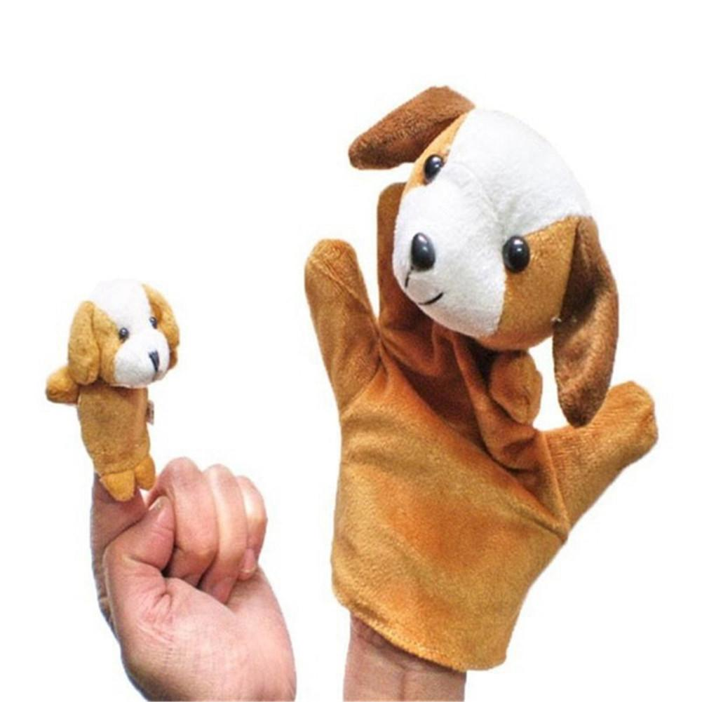2pcs/set Baby Kids Child Animal Dog Finger Puppet Infant Kid Toy Plush Hand Puppets Toys For Children Comfort Toys