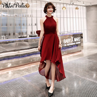 Sexy Halter Sleeveless Wine Red Chiffon High low Prom Dresses For Graduation Party 2019 Summer Short Homecoming Dresses