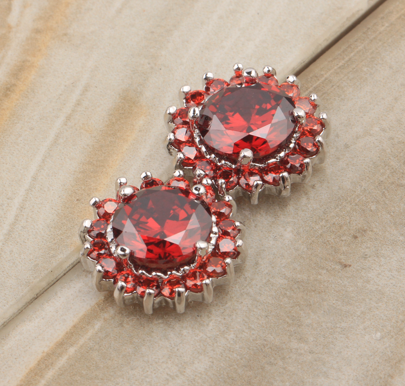 Around one laps Circle Shape Red Claret Garnet 925 Sterling silver Studs Earrings For Woman s