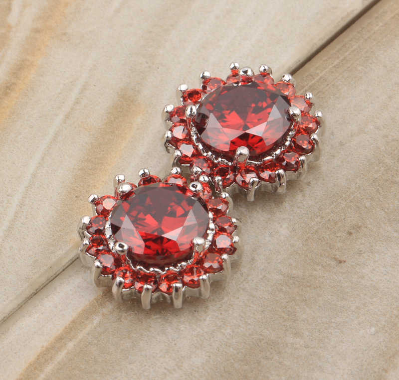 Sekitar satu lap Lingkaran Bentuk Claret Merah Garnet 925 Sterling silver Studs Earrings Untuk wanita Fashion Jewelry S5195