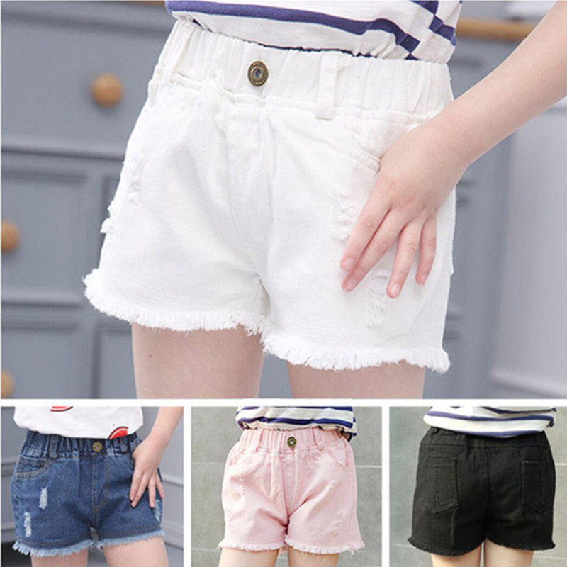 2018 New Fashion Girls Hot Blue White Black Solid Girl Ripped Hole Denim Shorts Girls Casual Pockets Female Short Jeans trendy ripped fringe lace spliced denim shorts