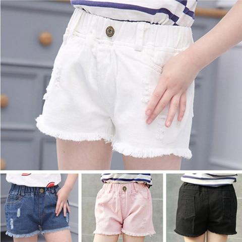 2019 nova moda meninas hot azul branco preto da menina solida rasgado buraco denim shorts