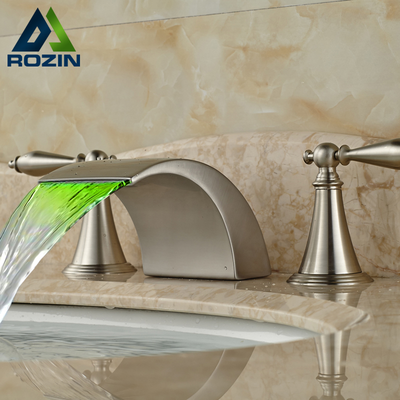 LED 3 Color Changing Bathroom Basin Faucet Brushed Nickel 3 Holes Hot Cold Water Mixer Taps Brushed Nickel brushed nickel led light bathroom waterfall basin sink mixer taps dual handle basin faucet with hot cold water