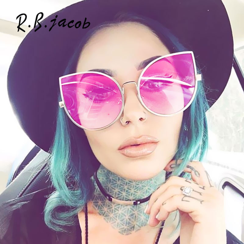 2017 New Style Cat Eye Sunglass Women Clear Mirror Sun Glasses Female Ladies Big Cateye Sunglasses Cool Special Sun Glass Oculos