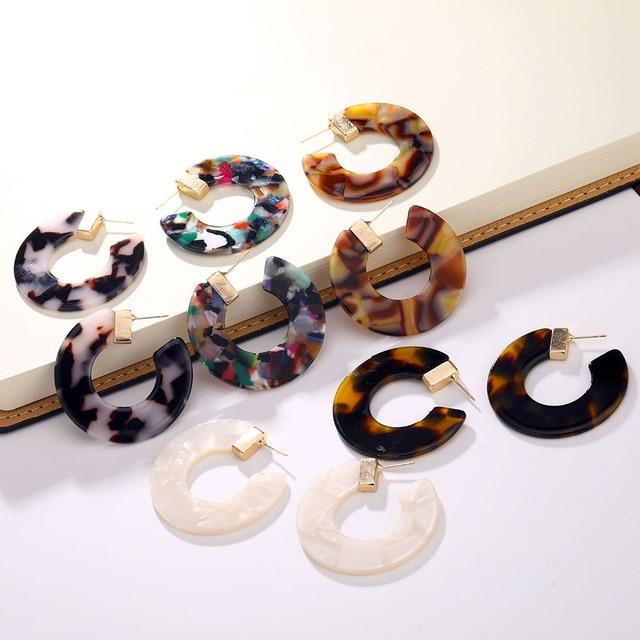Ailend pendientes damas leopardo resina pendientes acetato versión semi-circular pendientes en forma de C joyería 2019 nuevo