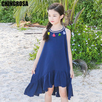 67c9334fbc CHINGROSA Pink Blue Tassel Solid Mermaid Girls Dresses Linen Cotton  Princess Beach Summer Dress Kids Clothing