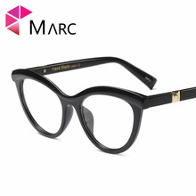 MARC WOMEN 2018 NEW Optical fashion Black Leopard print Plain glass spectacles Resin Red White Plastic Cat eye 97564