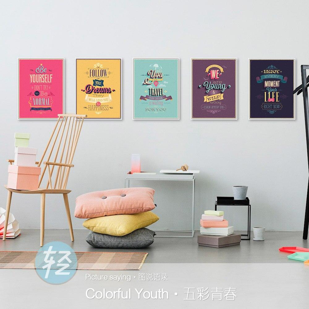 Vintage Retro Barevné Motivační Typografie Život Sny Citáty Umělecká reprodukce Plakát Skandinávská Nástěnná malba Home Decor Canvas Painting