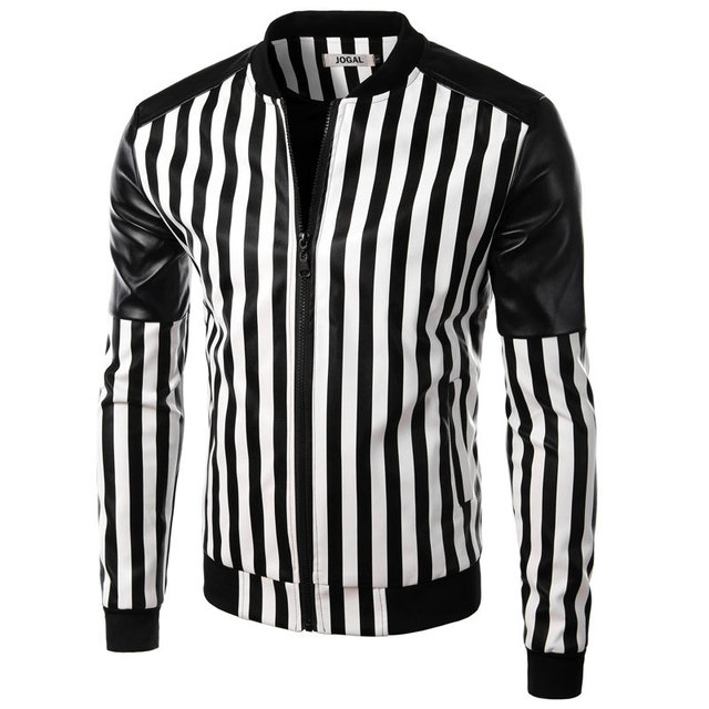 Brand Pu Leather Jacket Men 2015 Fashion Design Black White Striped Mens Slim Motorcycle Biker Jacket Jaqueta De Couro Masculina