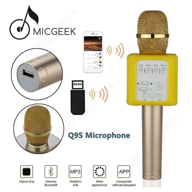 Бесплатная доставка! MicGeek Q9S Повышен Беспроводной Микрофон КТВ Караоке Для IOS Android Смартфон