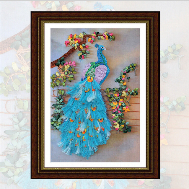 Diy Ribbon Embroidery Patterns Kits Panting Peacock Flowers