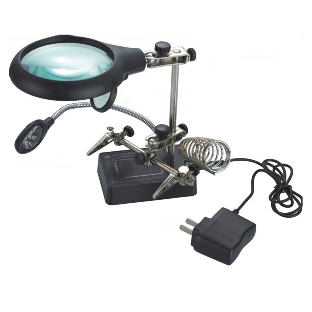 Multifunctional LED Light Magnifier Glass & Desk Lamp Helping Hand Repair Clamp Clip Stand Desktop Magnifying Tool 2 led light 2 25 5x magnifier desk lamp repair reading clamp desktop magnifying glasses with light