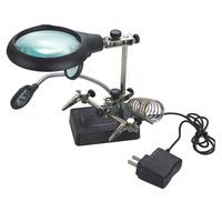 Multifunctional LED Light Magnifier Glass & Desk Lamp Helping Hand Repair Clamp Clip Stand Desktop Magnifying Tool