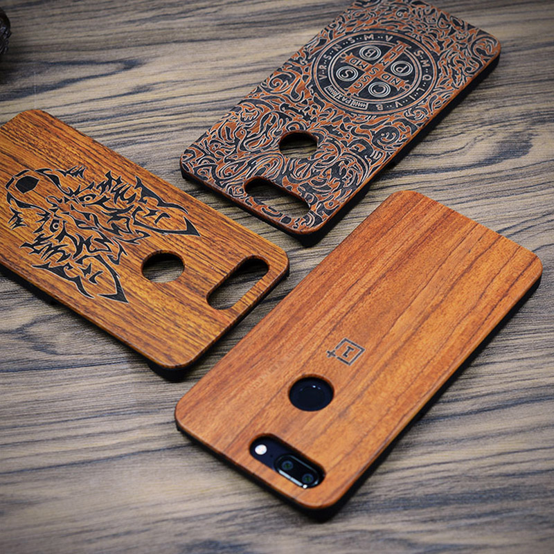 Oneplus 5t Case For Oneplus 5t Case On One Plus 5t Wood Cover One-plus-5t PC Carved Pattern Natural Wooden Coque 6.01 Phone Capa