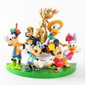 6+1pcs/set Mickey Minnie Donald Duck my happy life doll toys children doll ornaments Automotive Decoration 4-9cm with retail box