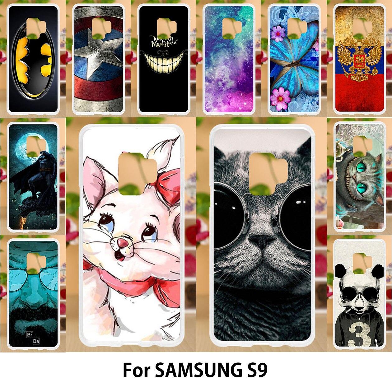 Anunob Para Samsung Casos Caso De Silício TPU Macio Voltar Capa Samsung S9 S9 Pintura Animais Bonitos Gatos Dos Desenhos Animados Estampados Sacos 5.8