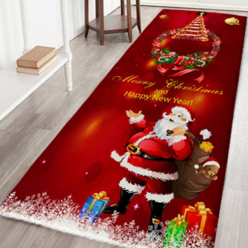 Christmas Rugs Flannel Tapis Noel Fabric Non Slip Rubber Backing Absorbent Bath Rug Home Kitchen Floor Mats