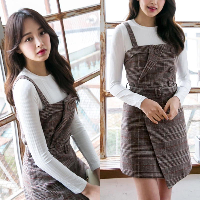 2 PCS Autumn and Winter Women Long Sleeve T Shirt and Woolen Strap Striped Dress Two-piece Maternity Clothes Vestir Robe