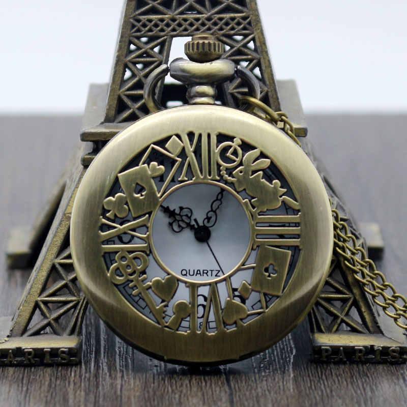 Высокое качество Ретро Полые Бронзовые Alice in Wonder Time тема Карманный Кролик Ключ Кварцевые брелок дизайн ожерелье часы подарок