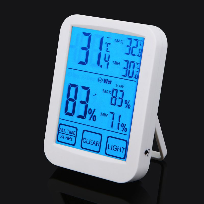 Digital Thermometer Hygrometer Indoor Humidity Monitor Temperature Gauge For Humidor Meter Touchscreen Backlight LCD Display
