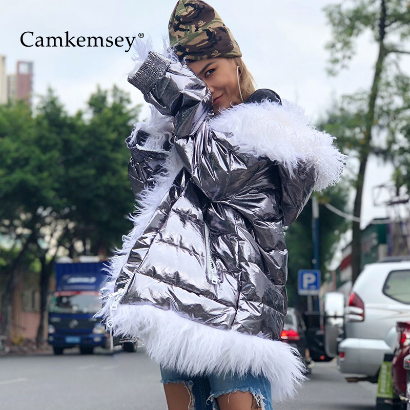 CamKemsey Real Fur Hooded Collar Winter Coats Women 2019 Streetwear Thick Warm Down Cotton Padded Winter Silver Jackets   Parkas