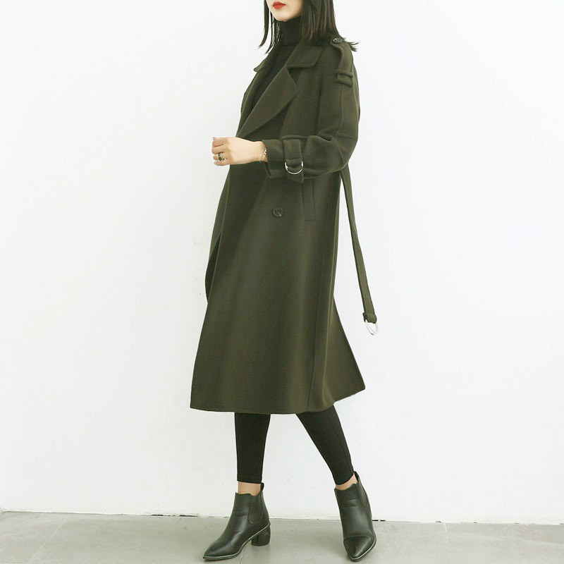 Womens Long Trench Coat Double-face Wool Cashmere Grid Overcoat Jacket Outwear