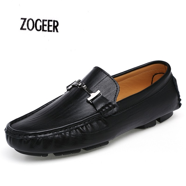 Shoes Male Flat Loafers For Men Moccasins Fashion Driving Casual Lazy Shoes Men Breathable Genuine Leather Loafers Shoes EU38-48