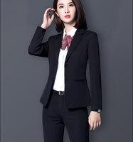 Two Pieces Set Black Formal Pant Suit Office Lady Style Uniform Design Women Business Blazer Trouser Suits For Work Wear 5XL
