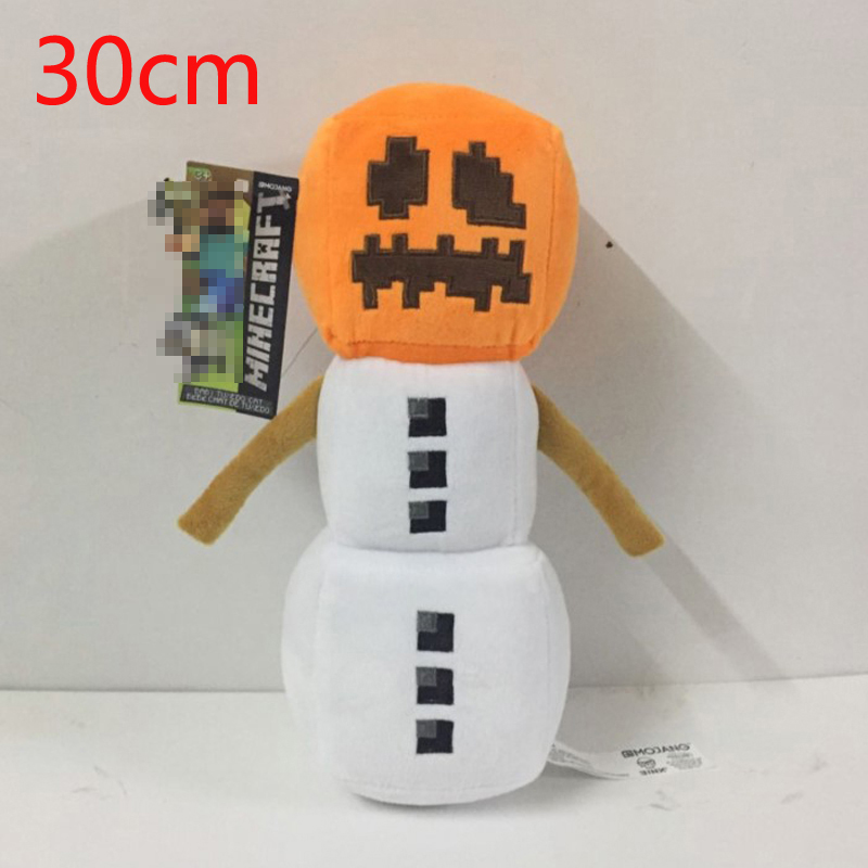 Minecraft Plush Toys 30cm Minecraft Snow Golem Plush Toy Dolls Soft Stuffed Toys Brinquedos for Kids Children Christmas Gifts 2015 hot 24 60cm huge big minecraft ender dragon plush soft black minecraft pp cotton minecraft dragon toys