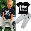 2017 Autumn Fashion Boys Clothing Set Tracksuit Children Cartoon Cotton Short-sleeved T-shirt+Elastic Pants 2pcs Sports Suit