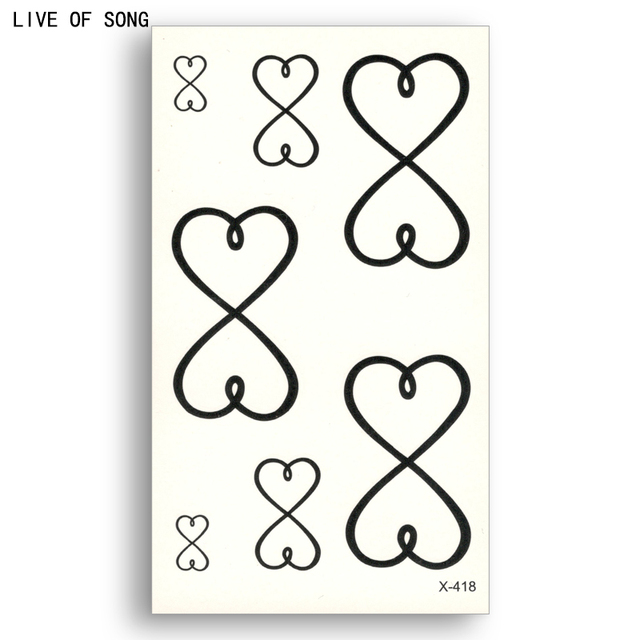 Fake Temporary Tattoo Water Transfer Black Two Connected Love