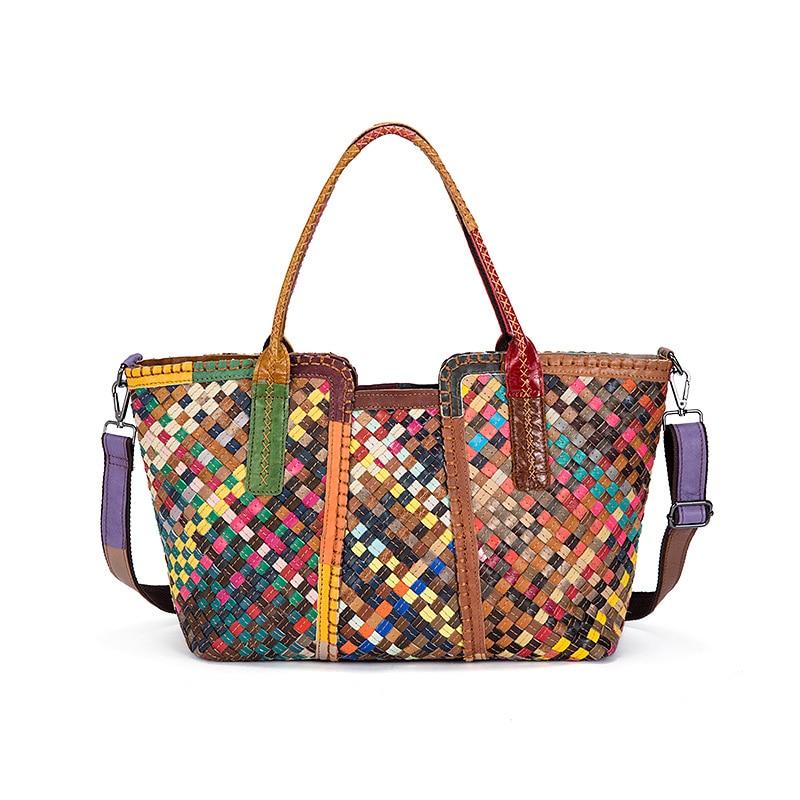 2017 New Genuine Leather Women's Handbag Sheepskin Leather Euramerican Fashion Woven Handbag Large Capacity Women's Shoulder Bag boyatu genuine sheepskin leather hand made large handbag fashion commuter bag