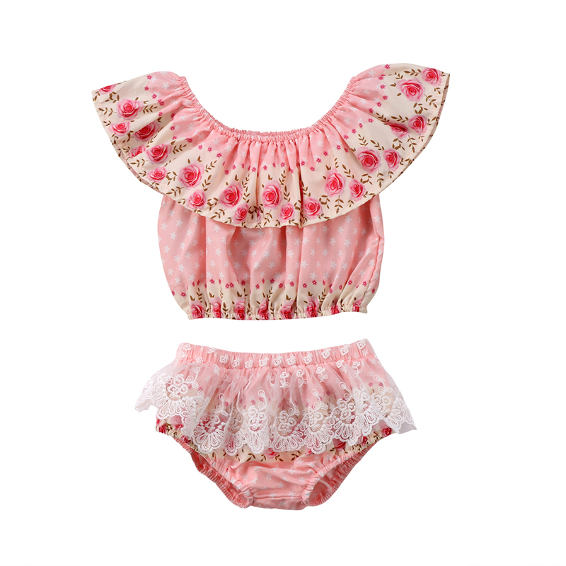 New Lovely Newborn Toddler Baby Girls Clothes Flower Lace Tops Blouse Pants Shorts Outfits Clothes