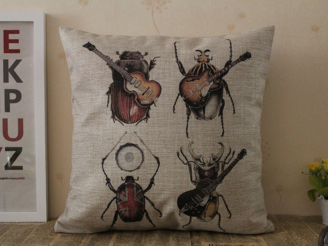 Free Shipping Christmas Gift Funny Cool Insect Ladybug Beetle Band Pattern  Cushion Cover Home Car Decorative