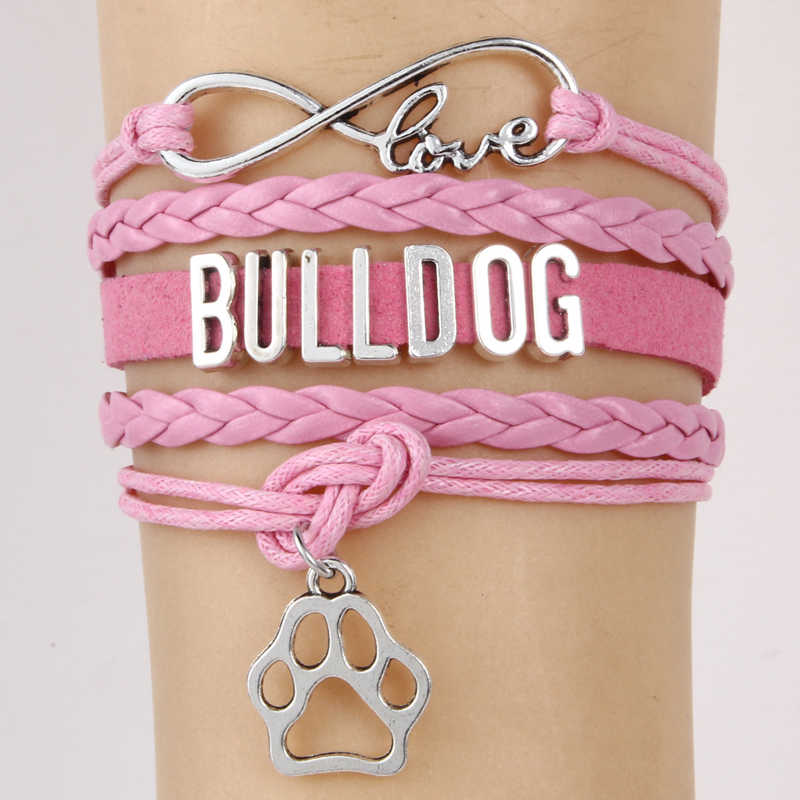 Drop Shipping Infinity Love Bulldog สร้อยข้อมือของขวัญสัตว์สายพันธุ์สุนัข Paw Charm กำไลและกำไลข้อมือ Handmade เครื่องประดับ