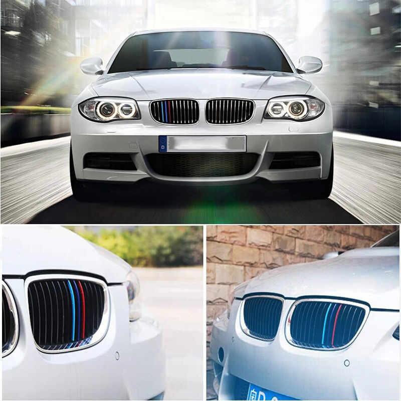 3-สีรถจัดแต่งทรงผมตกแต่ง Grille ไวนิลสติกเกอร์รูปลอกสำหรับ BMW M3 M5 E36 E46 E60 E90 e92 อุปกรณ์จัดแต่งทรงผม