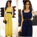 Free Shipping Ladies Fashion Elegant Faux two piece set Slender Waist Jumpsuit