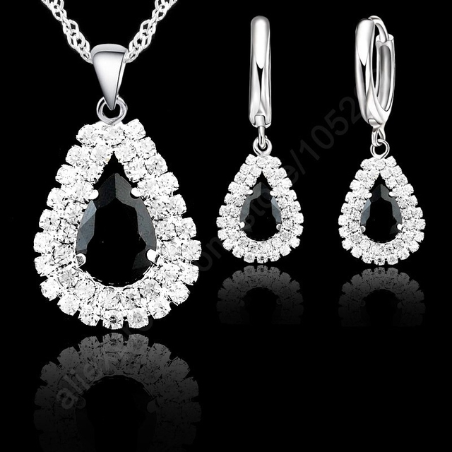 "JEXXI Jewelry Sets Blue 925 Sterling Silver Crystal Pendant Necklace 18"" Chain Hoop Earring Lever Back Women Gift Accessories 1"