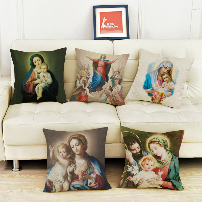 Estilo cristiano Dios Jesús funda de cojín vela para sofá hogar decorativo Throw Pillow Cover regalo religioso