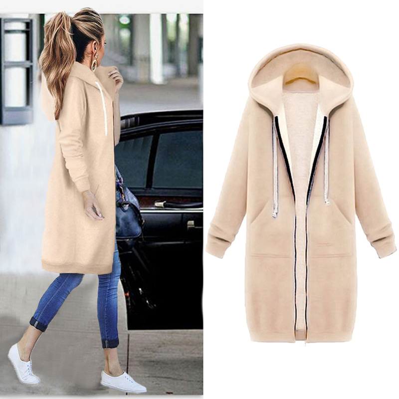 Hoodies Sweatshirt Zipper Autumn Long Plus-Size Women 5XL Casual 8-Colors Winte